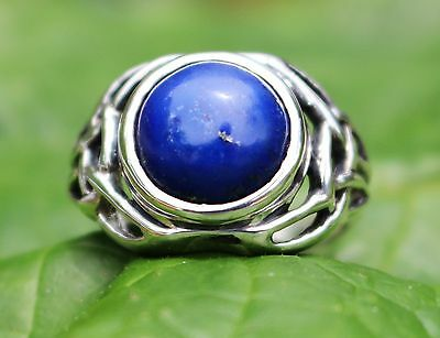 TRIQUETRA LAPIS RING CELTIC STERLING SILVER AA+ STONE METAPHYSICAL Size 10, #9