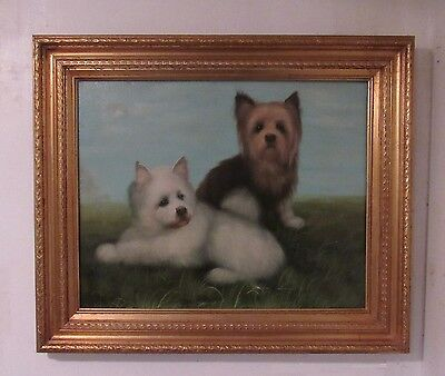 Original Oil Painting of dogs Signed H King