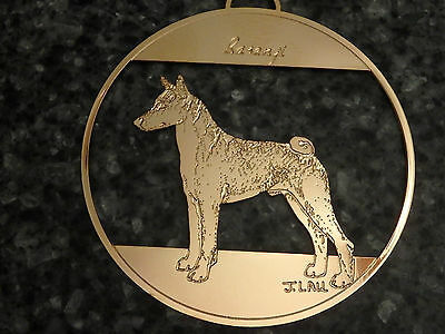 BASENJI Dog Ornament Brass Artist Lau Signed Round Hanging Made USA by Sweet Pea