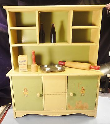 Child's toy / Doll vintage wood furniture kitchen hutch has 2 doors