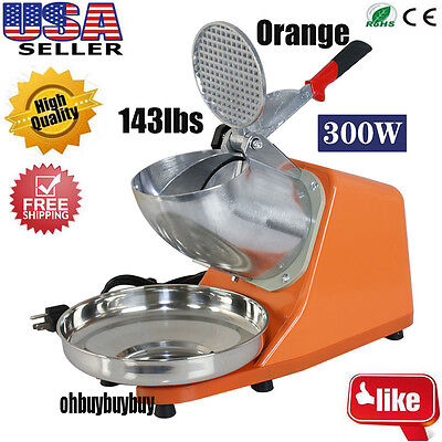 Orange Ice Shaver Machine Snow Cone Maker Shaved Icee 143lbs Electric Crusher WP
