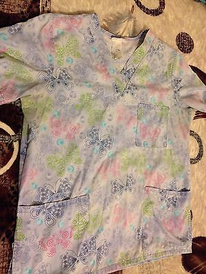 Women's SB Floral With Butterflies Scrub Top Blouse Size Medium