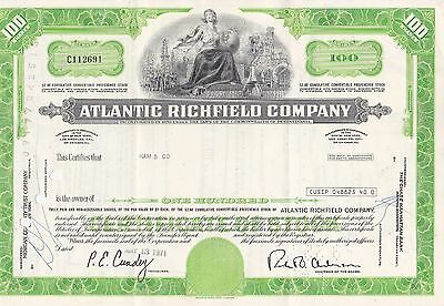 Atlantic Richfield Company Stock Certificate 100 Shares Shipped Business Letter