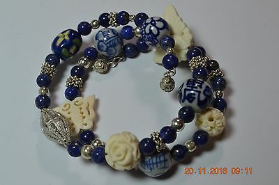 Qvc Sterling Silver Coil Bracelet Lapis Carved Butterfly Chinese Filigree Bead