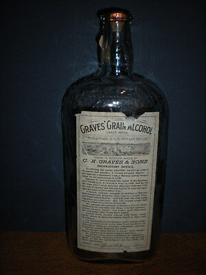 Grave's Grain Alcohol Embossed Bottle with Paper Label Rare Tall One Quart Flask