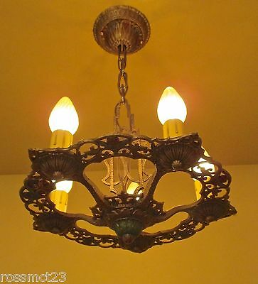 Vintage Lighting rare 1930s candle chandelier by Virden