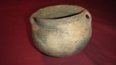 Ancient Native American Mississippian Indian Pottery Strap Handle Jar - Solid