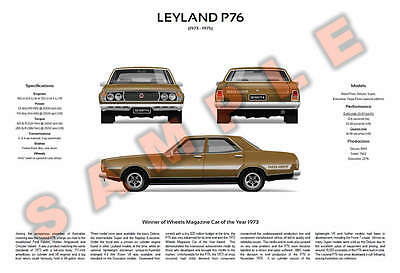 Customisable Leyland P76 3-View Poster Deluxe Super Executive Targa Florio V8