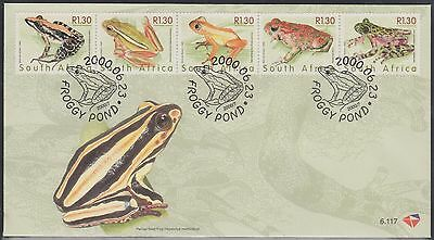 (WWG-200) 2000 South Africa FDC 5strip of frogs Stamps (A)