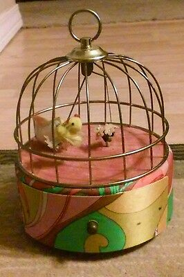 Vintage 1950-60's Mechanical  Bird Cage Music Box Still In Good Working Order