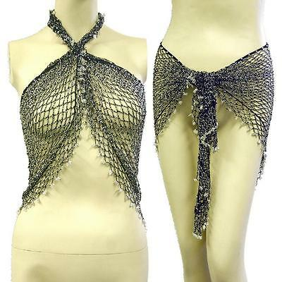 Belly Dance Triangle Beaded Fishnet Fringed Hip Scarf Wrap Belt -- Black/silver