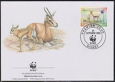 (WWG-32) 1998 WWF FDC Rep DU NIGER 250F Gazelle Dorcas mother& fowl (D)