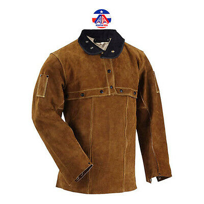 AA Premium Brown FR Cowhide Leather Welding Cape Sleeves and Bib Size S to 4XL