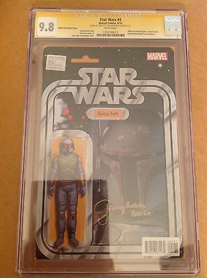 CGC SS 9.8 Star Wars #4 Boba Fett action figure variant signed by Jeremy Bulloch