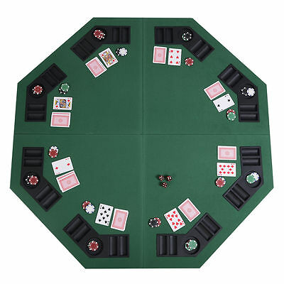 Folding Poker Table Top 8 Players Table W/Chip Trays & Drink Holders