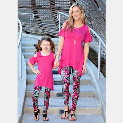 Family Clothes Mother Daughter Girls Baby Floral Pants Capris Leggings Trousers