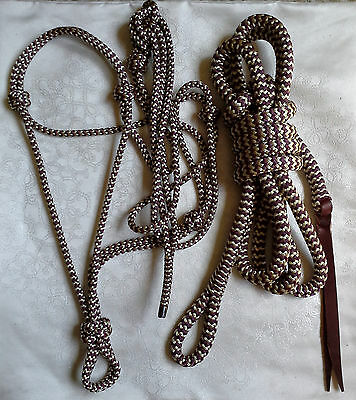Rope Halter & 12ft Lead Rope w Loop in Burgundy/Beige Zig Zag Natural Equipment