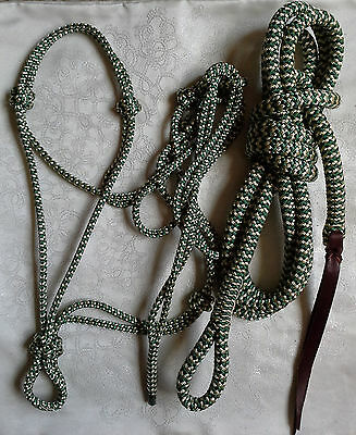 Rope Halter & 12ft Lead Rope w Loop in Green/Beige Zig Zag Natural Equipment