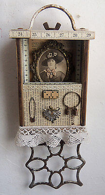 SHADOW BOX - Assemblage Art - Vintage Finds - 3D #1283 - Sari