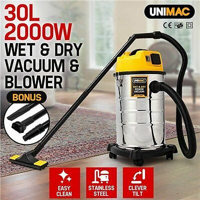 NEW 2000W Unimac 30L Wet & Dry Garage Office Drywall Vacuum Cleaner and Blower