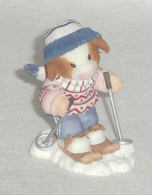 Mary Moo Moos Enesco 1999 Barn To Ski Figurine #548944 NEW IN BOX