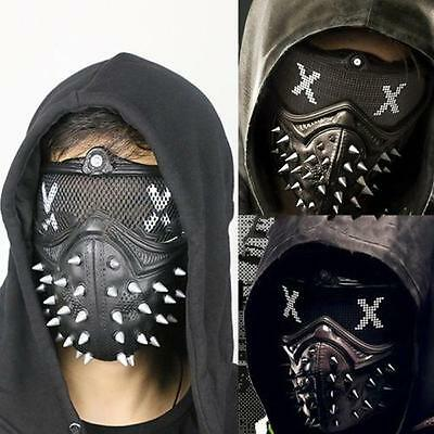 Watch Dogs 2 WD2 Marcus Mask Men Punk Gothic Rivet Mask Half Face Mouth-Muffle