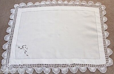 Vintage white linen butler's tray cloth with embroidered bow.