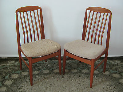 Pair of Benny Linden Dining Chairs, Danish teak styled, oatmeal fabric Northants