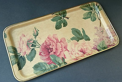 Vintage Retro Fibreglass Floral Roses Pink Serving Tray 1960s 70s Shabby Chic