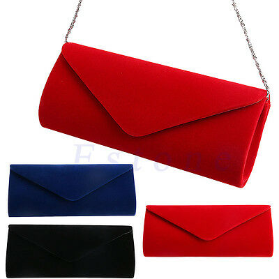 870dc26b Women Velvet Evening Clutch Chain Bag Handbag Formal Chain Shoulder Tote  Purse