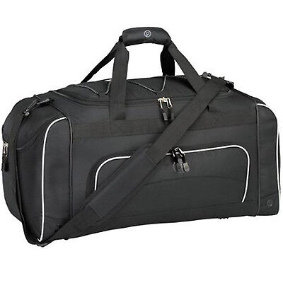 DUFFEL BAG With Wet Shoe Pocket Travel Luggage Sports Bags Gym Fitness Black