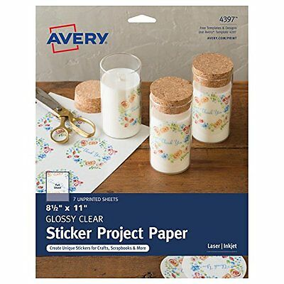 Avery Glossy Clear Full-Sheet Sticker Project Paper for Inkjet Printers,