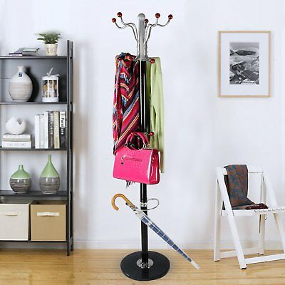 15 Hooks Black Metal Stand Solid Base Coat Hat Umbrella Rack Hanger