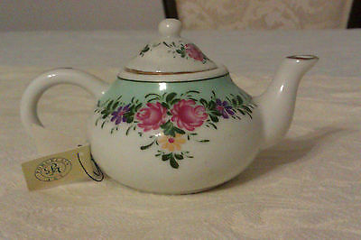 Collectable Porcelain Art Miniature Teapot With Tag - Rose Floral Design