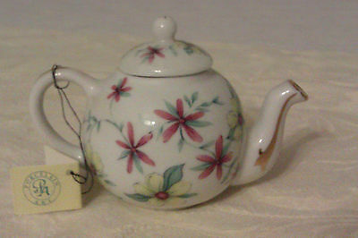 Collectable Porcelain Art Miniature Teapot With Tag - Pretty Floral