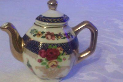 Collectable Pretty Floral Miniature Teapot Gold And Blue Pattern