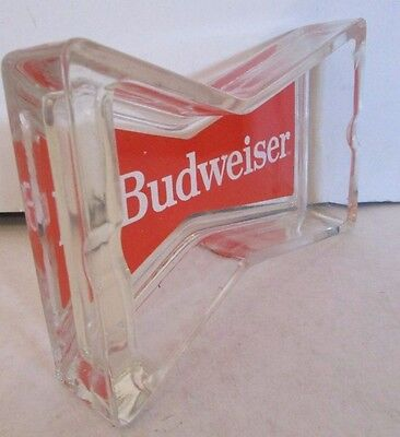 Budweiser Lager Beer Bow Shaped Glass Ashtray Pub Home Bar Man Cave thick glass