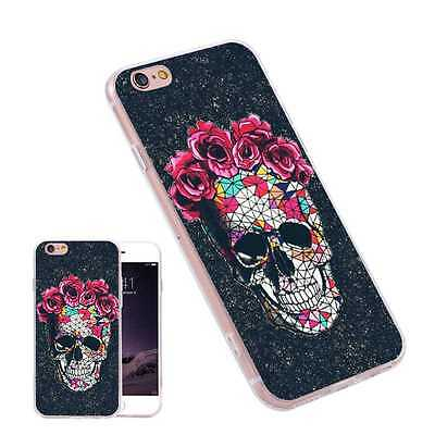 The Red Flower Skull TPU Painting Pattern Phone Cases for iPhone Samsung Huawei