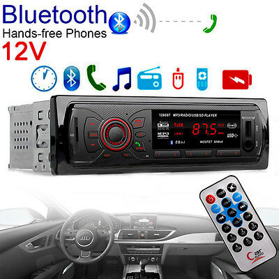 Bluetooth Car Stereo Audio 1DIN In-Dash FM Aux Input Receiver SD USB MP3 Radio