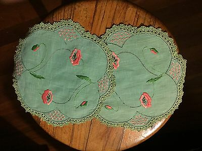 Vintage Hand Embroidered Duchess Set With Crotchet Edge