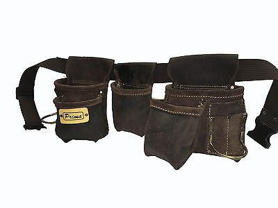 Prima Oil tan Leather Tool Belt Double Hammer Holder Nail Pouch Adjustable pocke