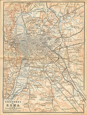 1897 Baedeker Antique Map-Italy- Environs Of Rome