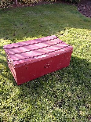 old vintage large metal trunk with wheels storage display prop