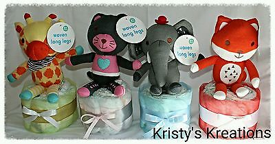 Small Nappy Cake with Teddy Boy Girl Unisex Baby Shower