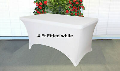 Trestle Tablecloth folding Table cover lycra spandex Fitted White 4ft foot