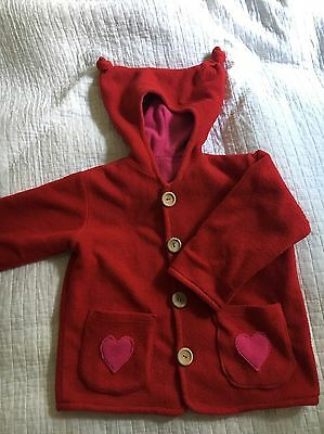 Girls red soft natural looking coat fits age 4 to 5 Years