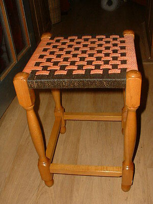 Lovely Vintage Pine Stool With A Wooven Top