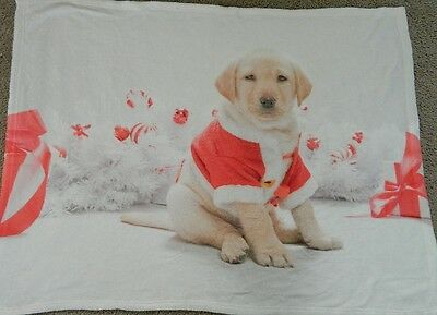 Golden Retriever Puppy Dog In Santa's Suit Throw Blanket SOOO Adorable NEW w/Tag