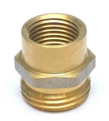 """Female Pipe to Garden Hose Thread Adapter Brass 1/2"""" Female NPT to 3/4"""" Male GHT"""