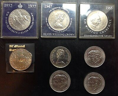 1965 To 1981 Eight Large Royal Commemorative Coins - Churchill / Diana / Jubilee